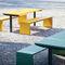 mesa de pícnic contemporánea / de madera / de acero galvanizado / rectangular