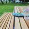 conjunto de mesa y banco moderno / de madera maciza / de acero / para espacio público