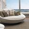 sofá redondo / contemporáneo / de cuero / de tejido