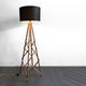 lámpara de pie / moderna / de metal / de madera