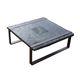 mesa de centro rústica / de fresno / con base de acero / cuadrada