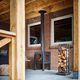 chimenea de leña / contemporánea / hogar abierto / central