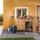 aparador contemporáneo / de teca / de acero inoxidable / de jardín