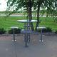 mesa alta contemporánea / de acero / redonda / de exterior