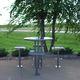 mesa de comedor contemporánea / de acero / redonda / de exterior