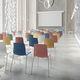 silla de visita contemporánea / con reposabrazos / apilable / patín