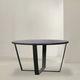 mesa contemporánea / de metal / con base metálica pintada / redonda