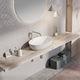 lavabo sobre encimera / ovalado / de piedra / moderno