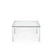 mesa de centro contemporánea / de vidrio / con base metálica / cuadrada