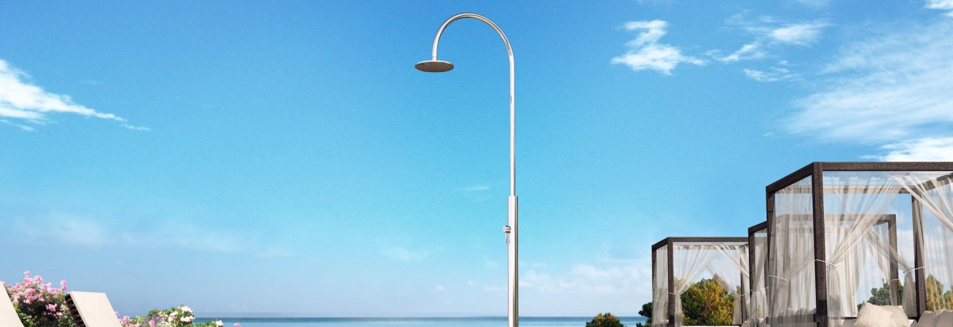 Aria Cylinder M Beauty - ducha al aire libre náutica de acero inoxidable para la piscina y el jardín