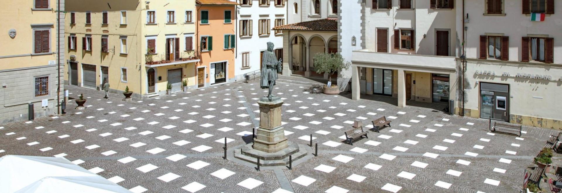 Caret Studio instala un sistema de distanciamiento social en la Plaza de Italia