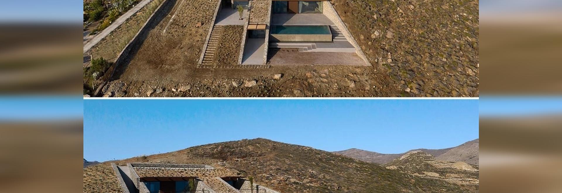 Una casa construida en la ladera de esta isla es casi invisible