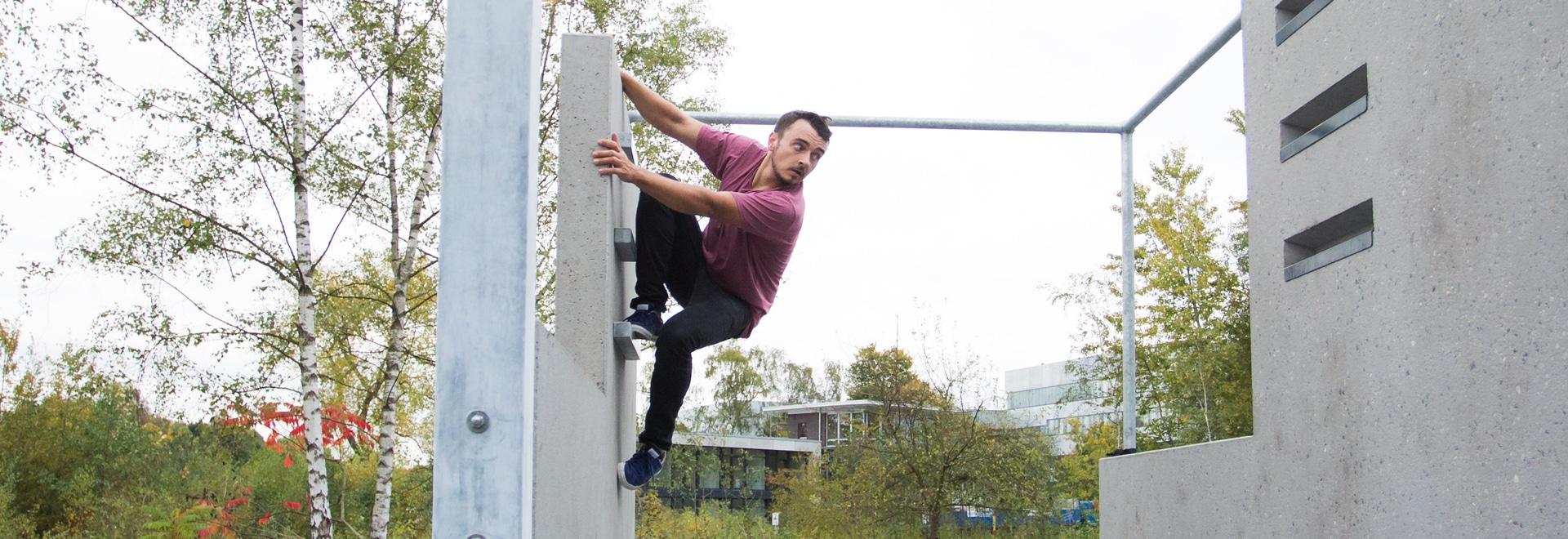 Entrenamiento de Kevin Rutkowski en el parque de Zollverein. Foto: EMG - márketing de Essen GmbH