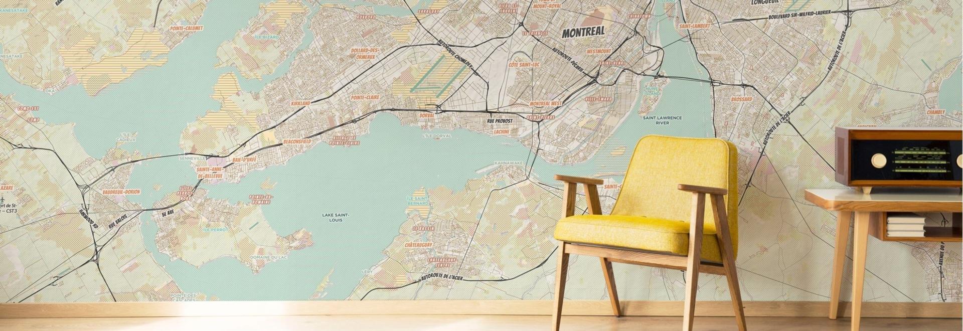 Mural cartográfico de Montreal al estilo de nuestro Comic Book