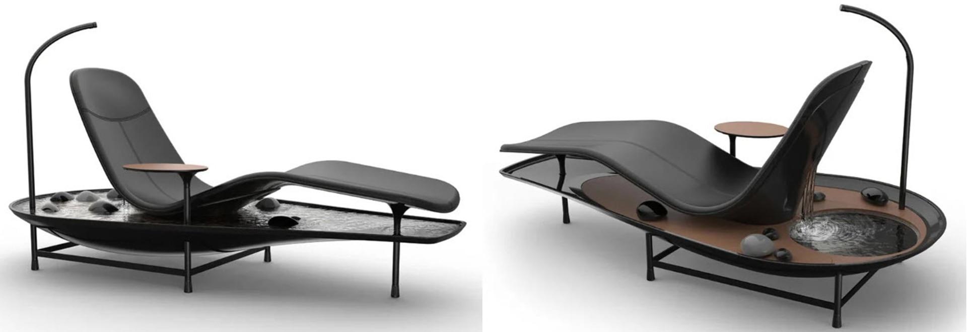 Recuéstese y relájese en su propio jardín zen con el concepto de chaise lounge Dhyan