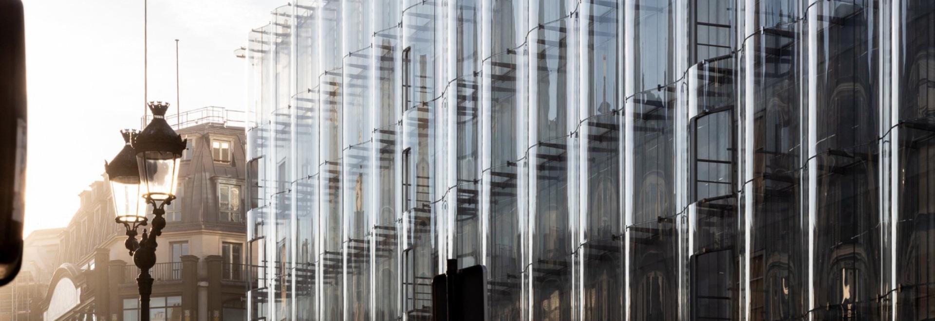 Restauración del samaritaine del la de los sujetalibros de cristal de ondulación de la fachada de SANAA' en París