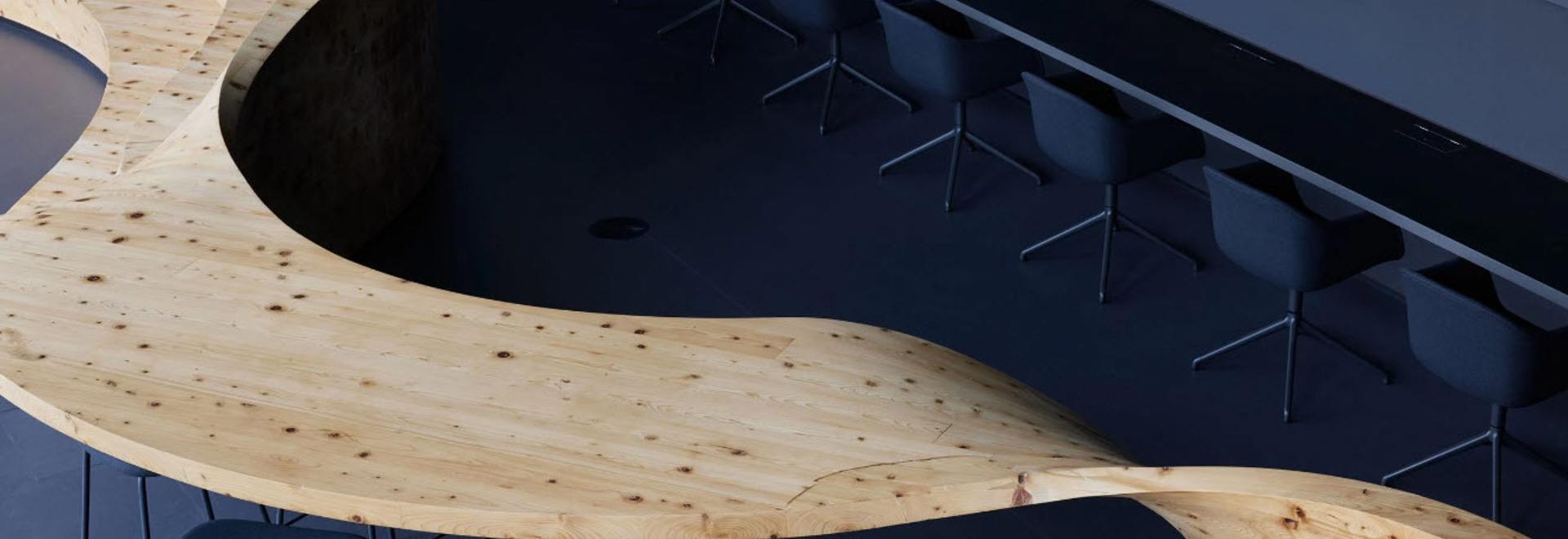 Snøhetta inserta muebles inspirados en una pincelada en el espacio de co-working de Tokio
