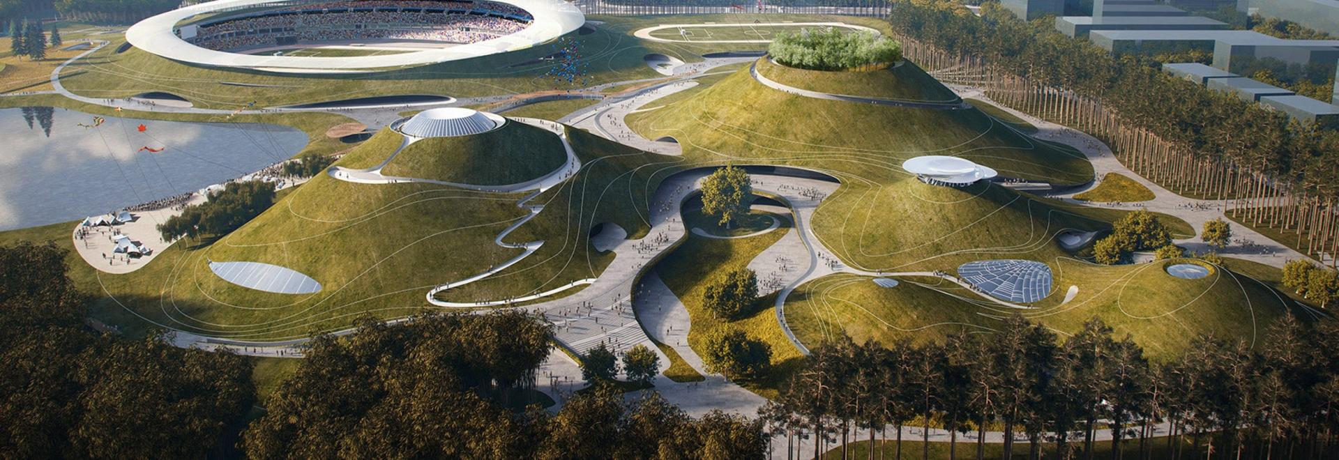 """Tierra ENOJADA de las roturas en campus """"extraterrestre"""" de los deportes en China"""