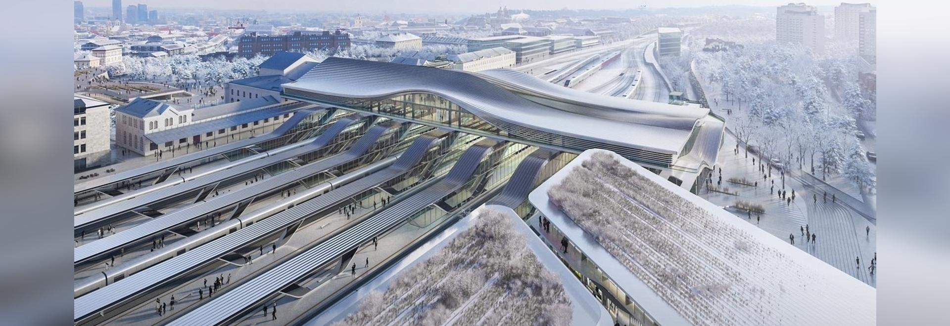 Zaha Hadid Architects diseña un amplio puente sobre la estación de tren de Vilnius