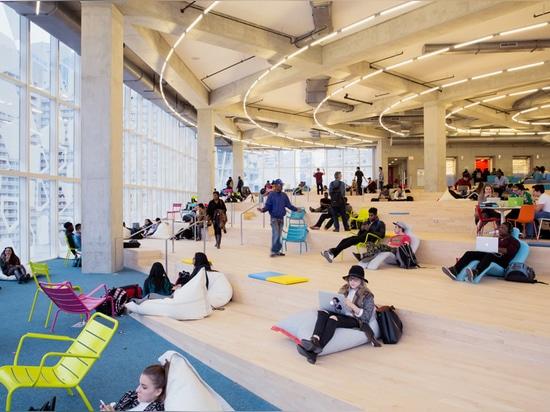 ¿? ¿la playa? es un área de estudio abierta e informal que se inclina abajo con una serie de rampas y de terrazas