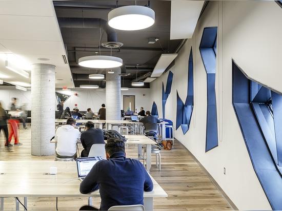 Dentro de, las salas de clase de aprendizaje activas y los espacios sociales abundantes fomentan la interacción espontánea de la facultad y del estudiante