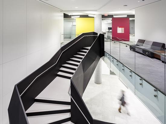 El diseño de ZAS ha dado a estudiantes el acceso a los espacios mejores y más brillantes alrededor del perímetro del edificio, mientras que las oficinas están situadas en su base