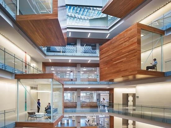 perkins + las vainas voladizas del trabajo dentro de la facilidad de investigación del instituto de allen de Seattle