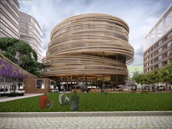 el esquema ofrece una plaza pública colindante diseñada por los estudios del aspecto