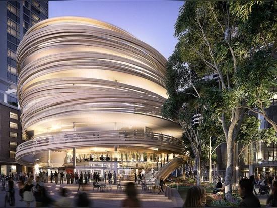 Kengo Kuma revela los planes para la biblioteca madera-revestida que tuerce en espiral en Sydney