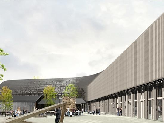 la construcción de escuelas entreteje entre los patios, que son utilizados por los estudiantes para crear modelos de gran tamaño