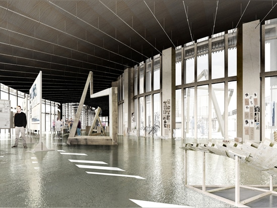 la estructura de la madera une instalaciones de la enseñanza, del aprendizaje y de investigación debajo de una azotea