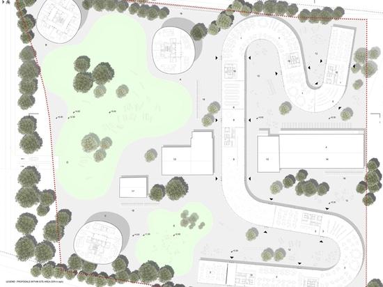 el nuevo campus forma un punto giratorio para re-calificar el sitio como nuevo eje educativo, cultural, y social