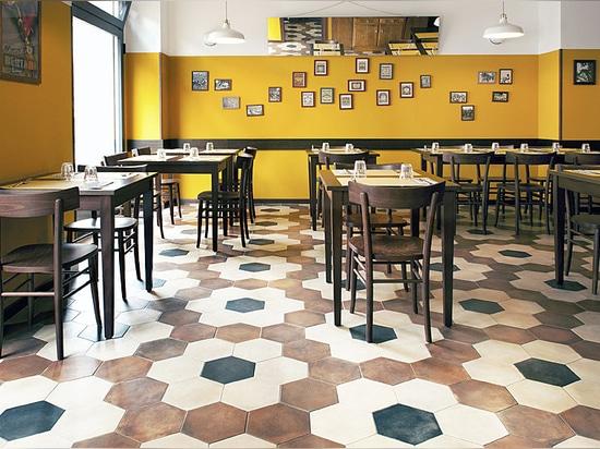 El restaurante Trippa de Milán elige el gres porcelánico de inspiración vintage