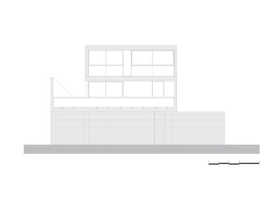 Pax-Arq, casa Oficina, dibujo técnico, elevación del sur