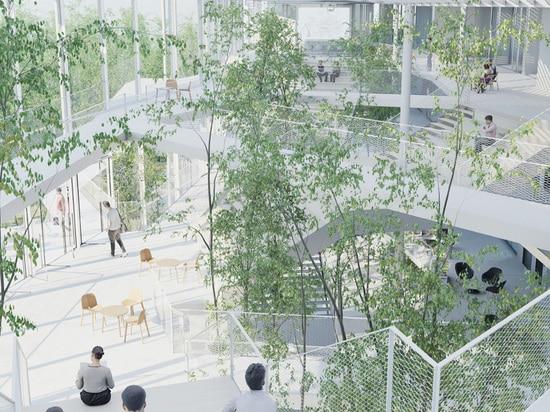 las áreas de la relajación se derraman hacia fuera sobre un parque linear, continuando el sentido de la flexibilidad