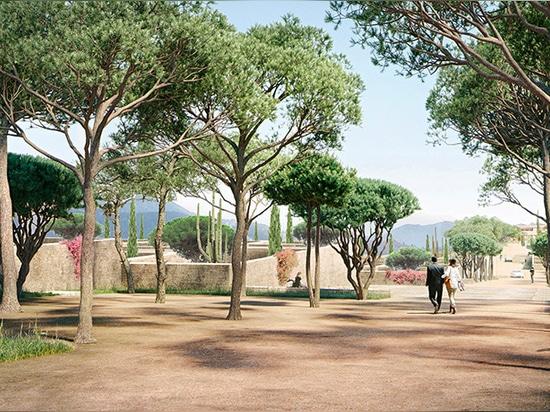 el herzog y el campus de la cima de la montaña de los diseños de meuron cerca del LA para berggruen al instituto