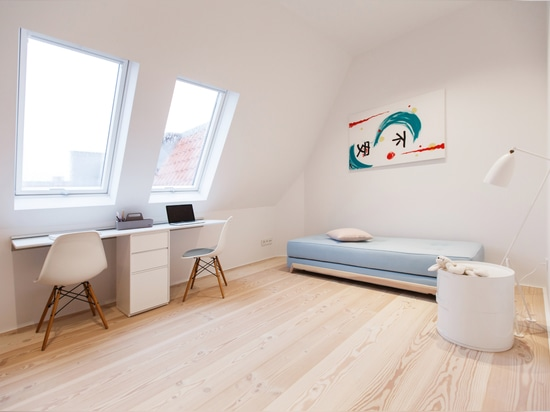 Plano del ático de Berlín con el natur Douglas Floorboards del pur