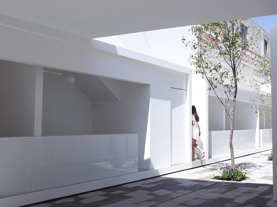 México. Una arquitectura blanca y exacta se convierte en un mercado y enmarca un edificio rural