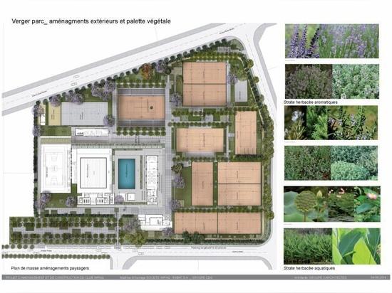 el verdor enorme en el club de deportes del wifaq refleja el pasado agrícola de Rabat, por los architectes groupe3