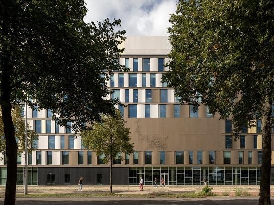 el martillo lassen de Schmidt conecta las instalaciones de la universidad holandesa con las escaleras de entrecruzamiento