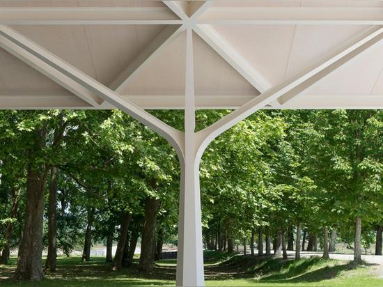 ¿la forma de las columnas es una referencia clara al edificio? alrededores rurales de s