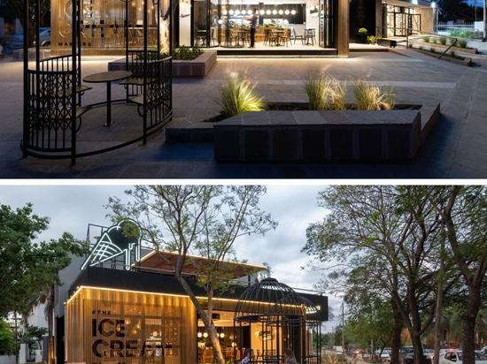 FERRO Y ASSOC. Los arquitectos han diseñado una nueva ubicación del café del helado de Lucciano en la Argentina