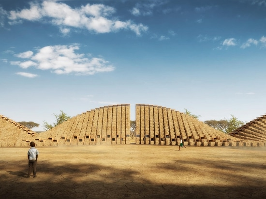 Escuela de fardos de paja en Malawi, África Oriental