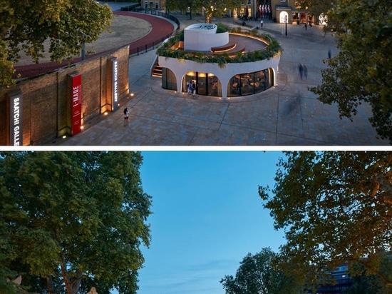 El Restaurante Vardo en Londres tiene un diseño en espiral con una cubierta en el techo