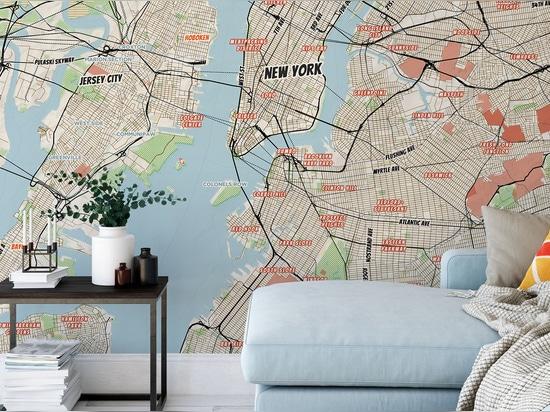 Mural de la ciudad de Nueva York Mapa Cómic