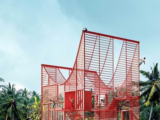 Antirealidad diseña una casa hundida en el agua con zancos finos