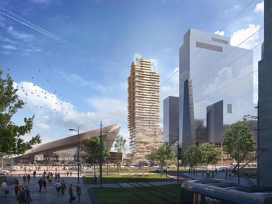 La arquitectura PLP seleccionada para diseñar la torre de madera más alta de Holanda con núcleo de hormigón