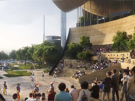 El estudio de diseño Croquis presenta su propuesta de concurso para la biblioteca principal de la ciudad de Gwangju, Corea del Sur