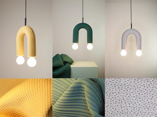 Colección de iluminación DUO. De izquierda a derecha: mosaico, cáscara, chispas.