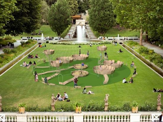 """Rimbin es un concepto de patio de recreo """"libre de infecciones"""" diseñado para parecerse a los lirios de agua"""